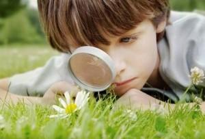 Chlapec pozoruje lupou kvety